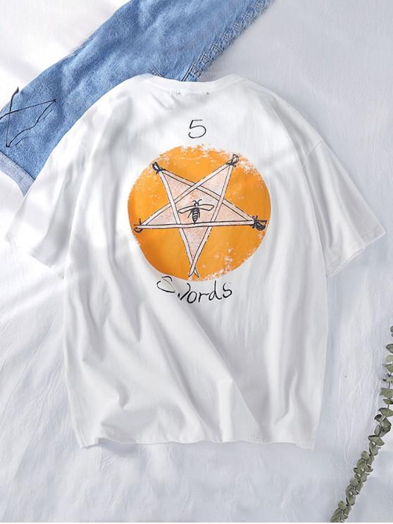 ladies Star Graphic Swords Letter Print Short Sleeve Tee - WHITE XL