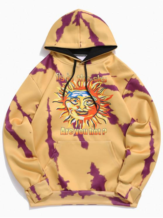 chic Sun Letter Print Kangaroo Pocket Hoodie - BEE YELLOW 2XL