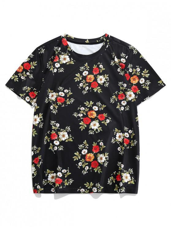 hot ZAFUL Flower Print Short Sleeves T-shirt - MULTI-A XL