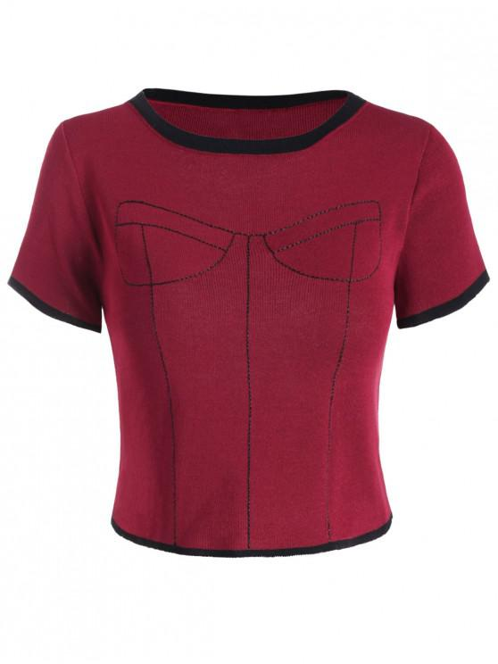 fashion Knitted Contrast Stitching Ringer Tee - RED WINE ONE SIZE