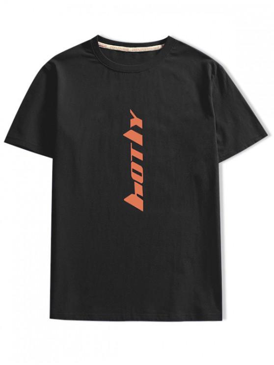 women Short Sleeve Letter Print T-shirt - BLACK XS