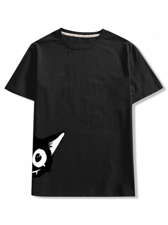online Short Sleeve Cartoon Animal Print T-shirt - BLACK 2XL