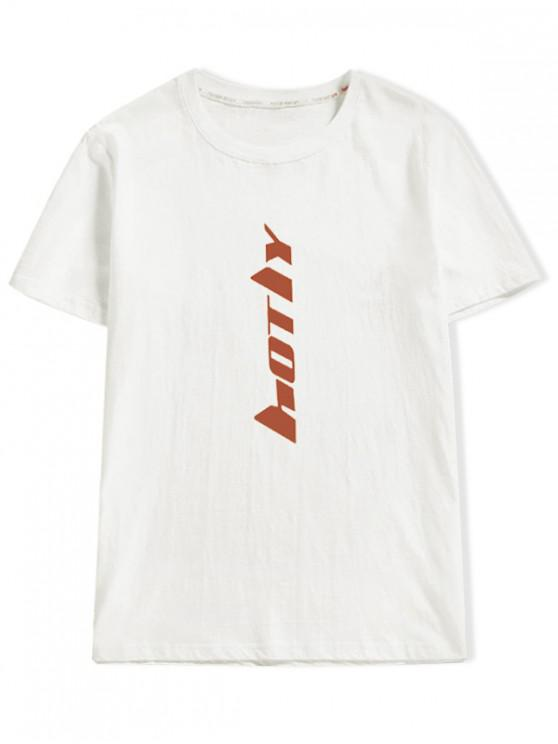 new Short Sleeve Letter Print T-shirt - WHITE XS