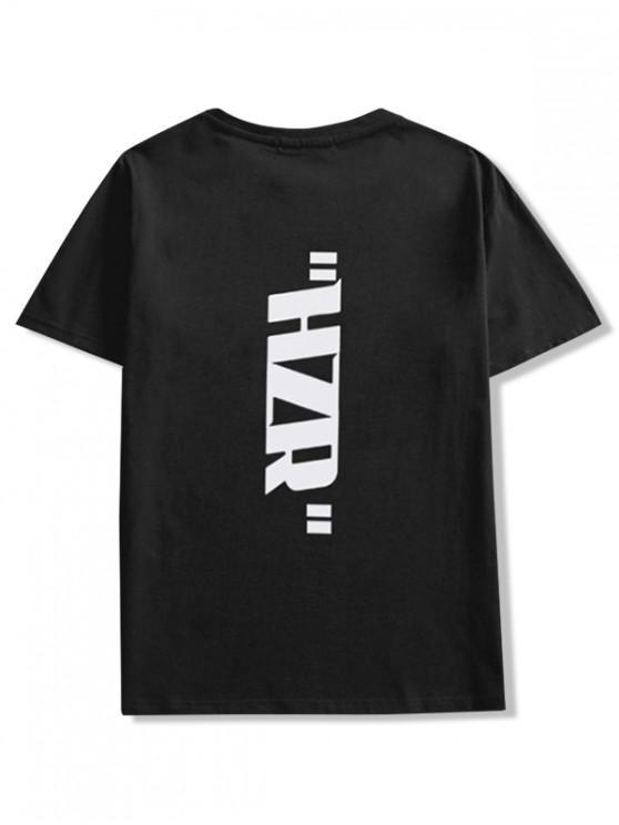 sale Do It Better Letter Print Short Sleeve T-shirt - BLACK 2XL