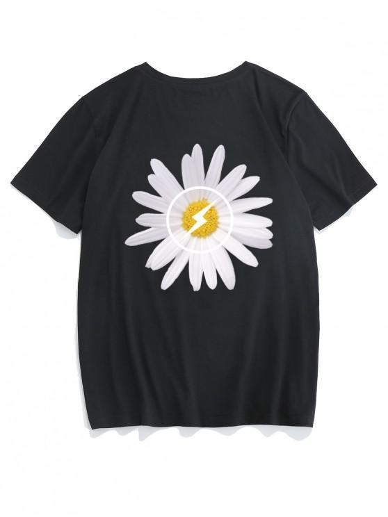 ZAFUL Blumenmuster T-Shirt mit Kurzen Ärmeln - Schwarz 2XL