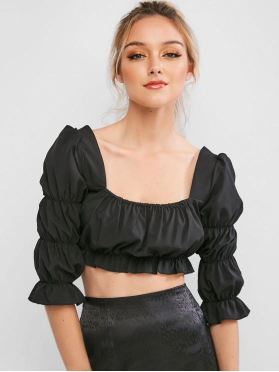fashion ZAFUL Square Collar Ruffled Milkmaid Top - BLACK S