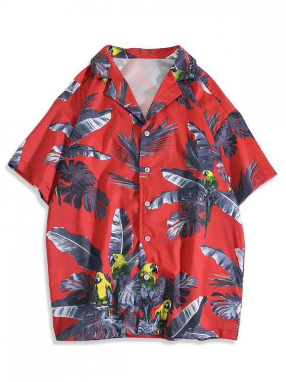 Camisa de Vacaciones con Estampado de Hojas Tropicales - Rojo Lava 2XL