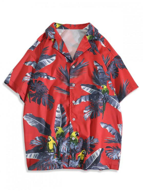 latest Tropical Leaf Parrot Print Vacation Shirt - LAVA RED XL