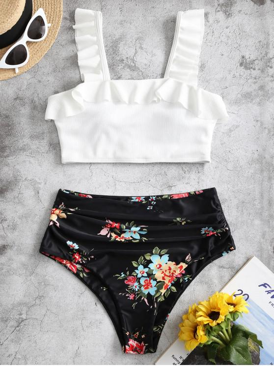 new ZAFUL Ruffle Floral Ruched Ribbed Tankini Swimsuit - BLACK 2XL