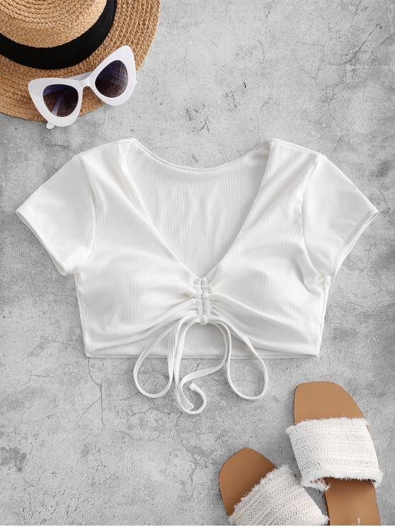 affordable ZAFUL Cinched Ribbed Swim Top - WHITE S