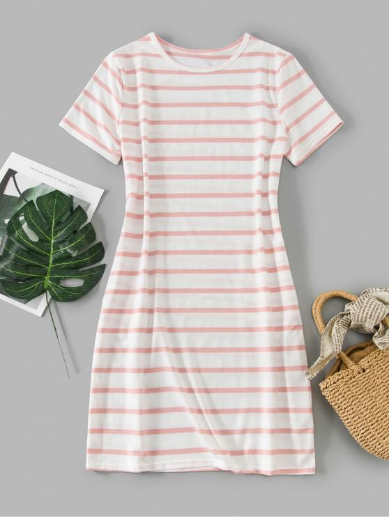 affordable Short Sleeve Stripes Casual Tee Dress - MULTI-A M