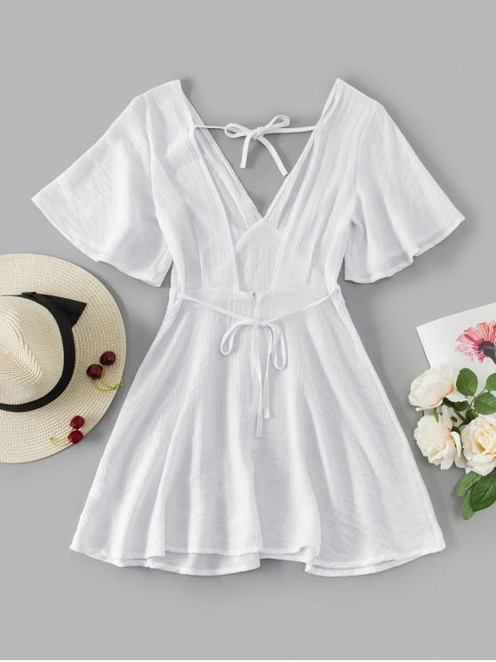高腰撲袖回接迷你連衣裙 - 白色 M