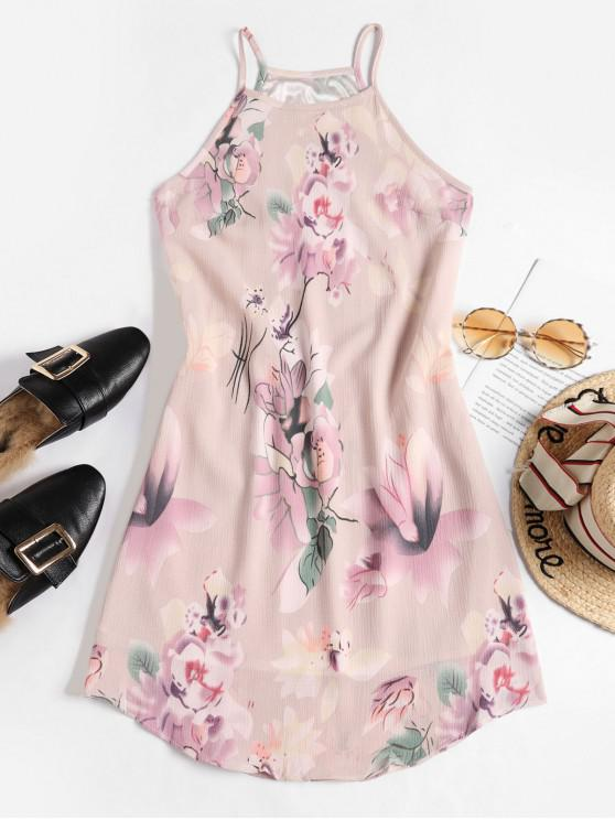 online Floral Leaf Sleeveless Dress - PINK M