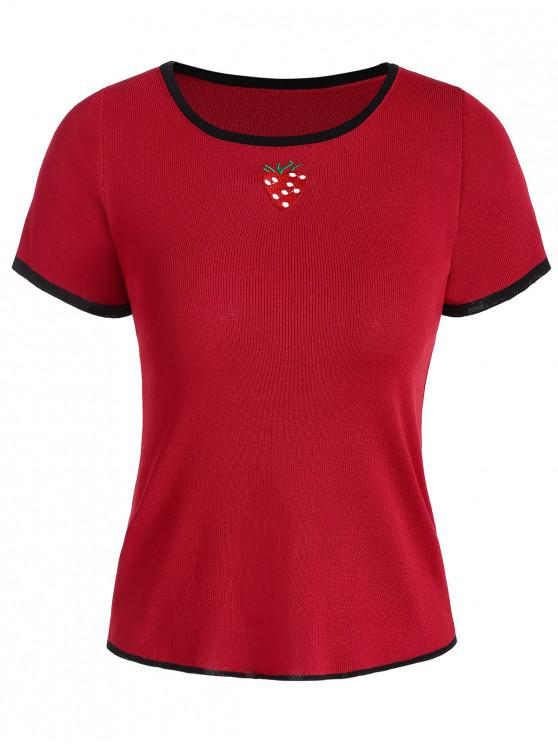 sale Knitted Strawberry Embroidered Ringer Tee - RED ONE SIZE