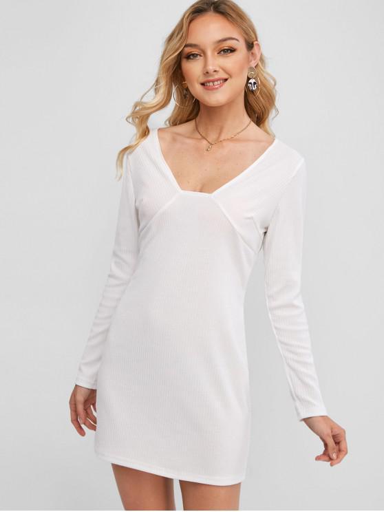 women's Ribbed Plunging Bodycon Mini Dress - WHITE S