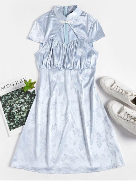 ZAFUL cut-out jacquard Oriental Dress Cheongsam - Blu Polvere M