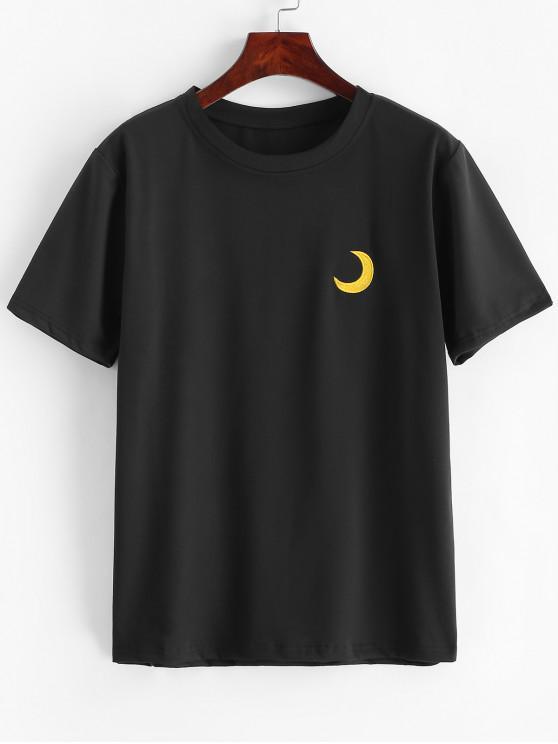 Tee de Nuvem de Sol de Lua Engraçado do Bordado - Preto 2XL
