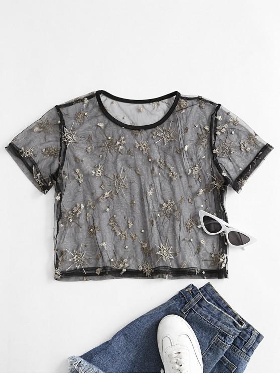 ZAFUL T-shirt Bordado de Estrela - Preto M