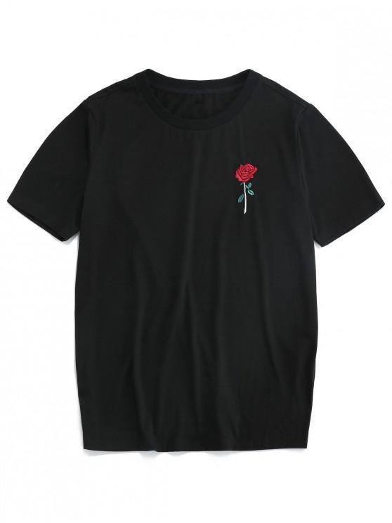 trendy ZAFUL Rose Embroidery Short Sleeve T-shirt - BLACK XL