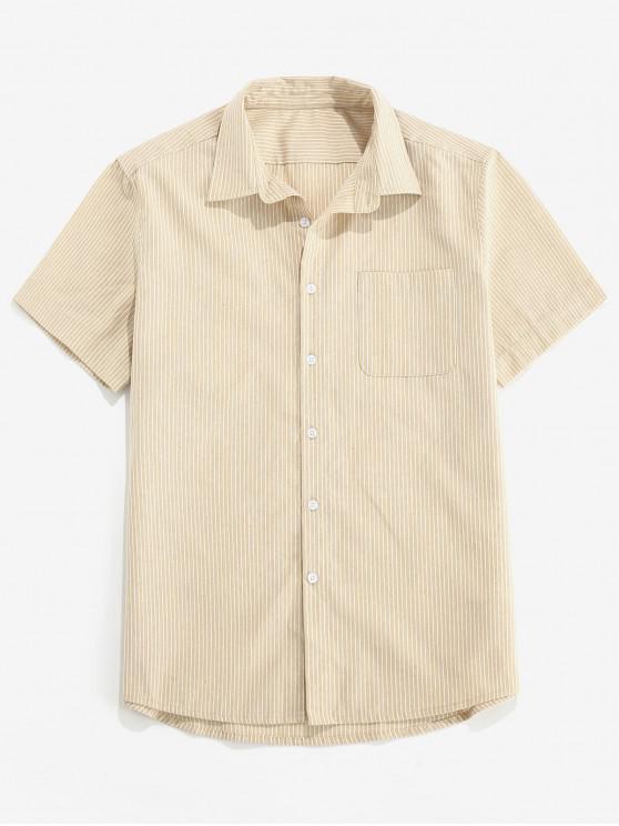 ZAFUL Camisa a Rayas con Botones y Bolsillo - Caqui Claro M