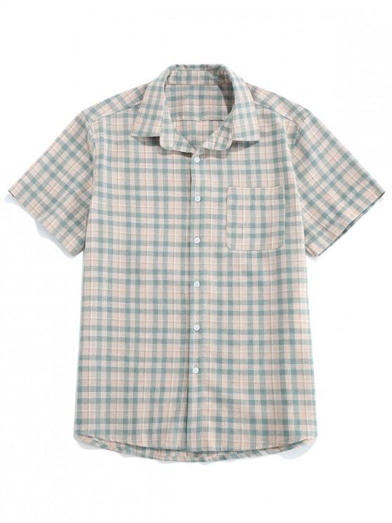 ZAFUL Pocket Plaid Shirt - رمادي الفيروز S