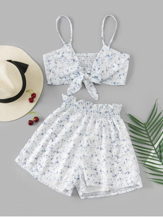 fashion Leaves Knotted Cami Two Piece Suit - MULTI S