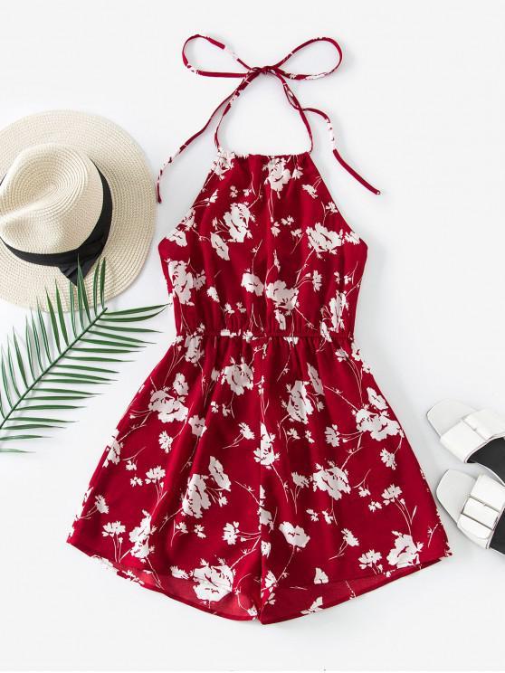 chic ZAFUL Halter Floral Open Back Romper - RED L