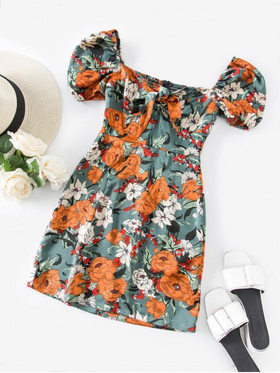 fashion ZAFUL Flower Tie Front Sweetheart Mini Dress - CYAN OPAQUE M
