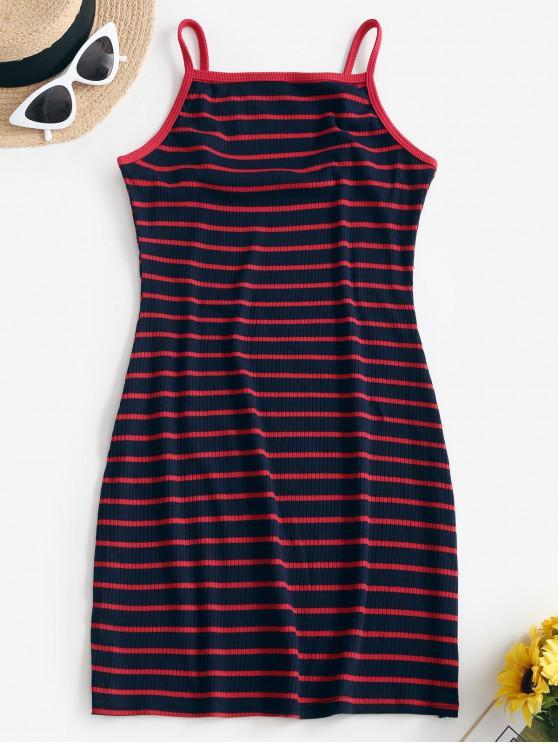 sale ZAFUL Ribbed Stripes Cami Bodycon Dress - MULTI-A XL