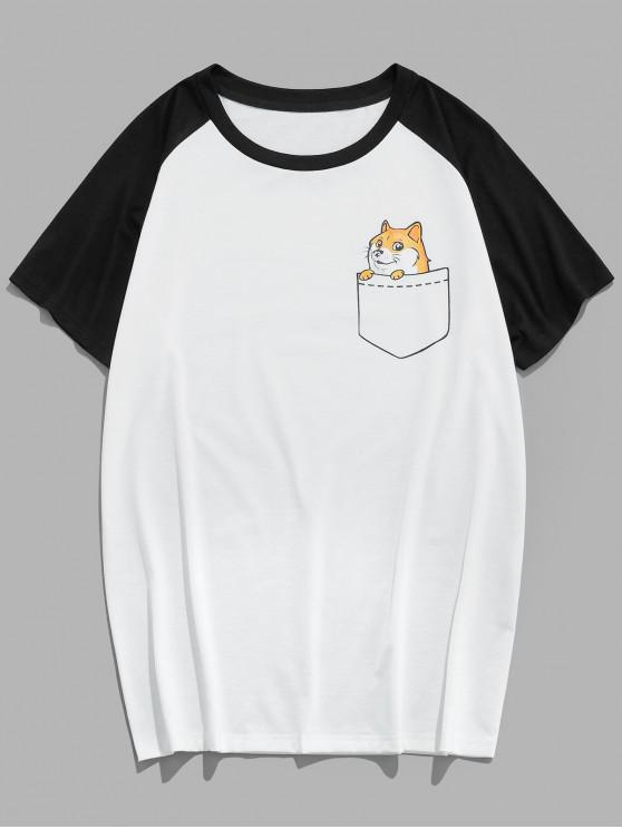 ZAFUL Animal Print Colorblock Panel T-shirt - متعدد S