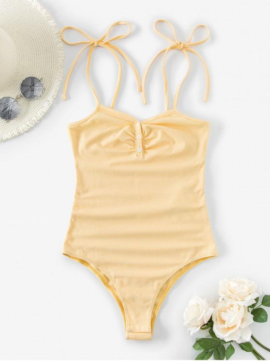womens ZAFUL Striped Button Placket Cami Bodysuit - YELLOW M