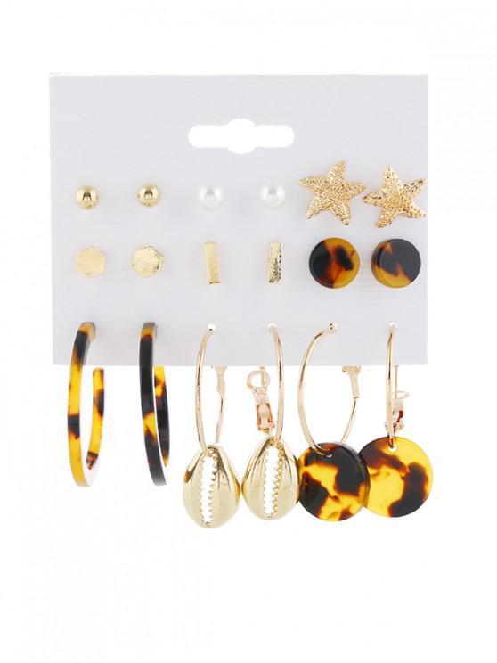trendy 9 Piece Tortoise Star Shell Stud Drop Earrings Set - GOLD