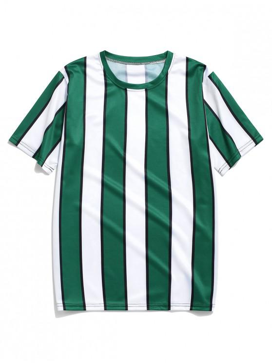fashion Color Block Striped Print T-shirt - DEEP GREEN 3XL