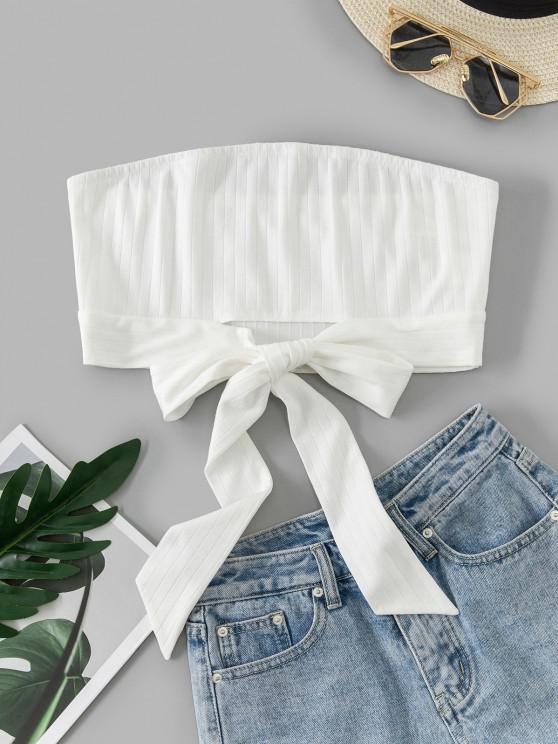 trendy ZAFUL Bowknot hem Crop Tube Top - NATURAL WHITE XL