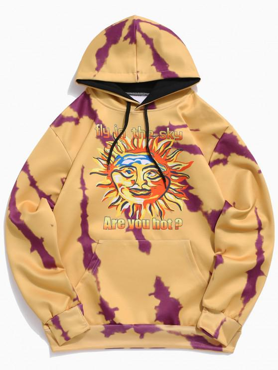 sale Sun Letter Print Kangaroo Pocket Hoodie - BEE YELLOW XS