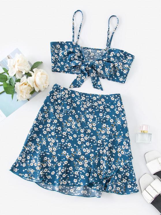 chic ZAFUL Ditsy Print Tie Front Ruffle Skirt Set - DENIM BLUE L