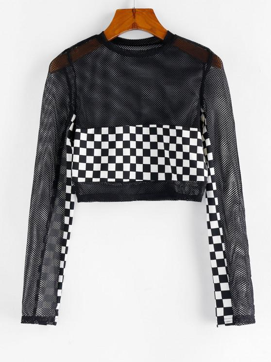 hot Checkered Fishnet Crop Top - BLACK M