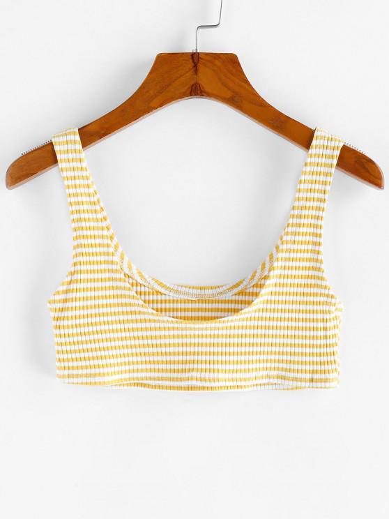 Basik Streifen Crop Top - Sonne Gelb M