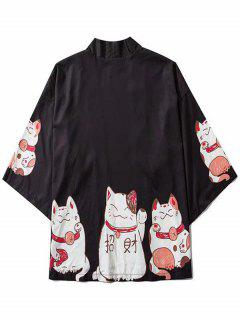 Fortune Cat Print Drop Shoulder Kimono Cardigan - Black 2xl