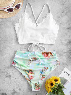ZAFUL Angel Print Ribbed Lace Up Scalloped Tankini Swimsuit - White L