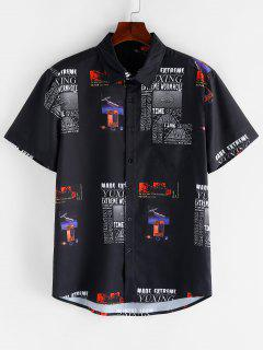Graphic Letter Pattern Y2K Short Sleeves Shirt - Black Xl