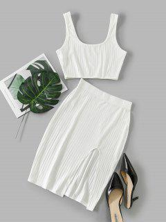 Cut Out Solid Crop Two Piece Suit - White M