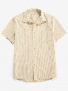 ZAFUL Stripe Pocket Button Up Shirt - Light Khaki S