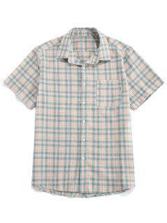 ZAFUL Chemise à Carreaux Avec Poche - Turquoise Grisâtre S