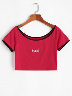 ZAFUL Letter Print Ringer Crop Tee - Red Xl