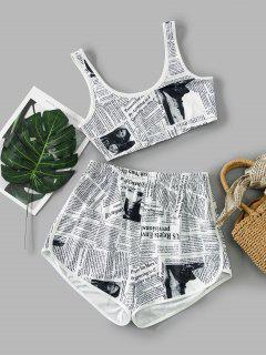 ZAFUL Newspaper Print Cropped Dolphin Shorts Set - White Xl
