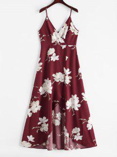 ZAFUL Flower Slit Maxi Surplice Dress - Red Wine M