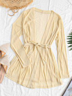 ZAFUL Metallic Thread Belted Openwork Cover Up - Tan Brown M