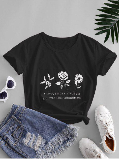 outfits Flower Slogan Graphic Short Sleeve Tee - BLACK S Mobile