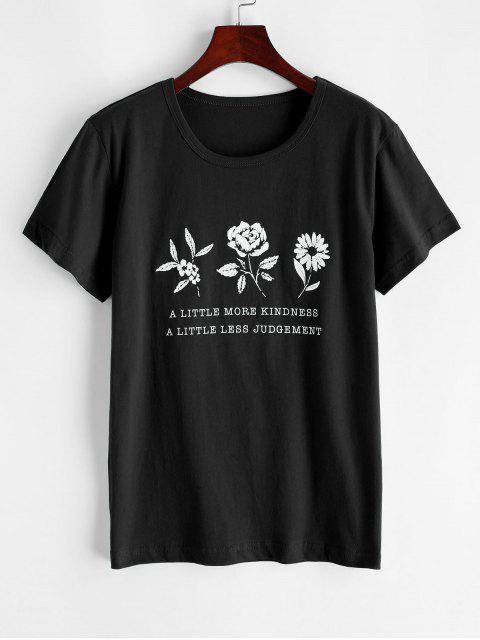 shops Flower Slogan Graphic Short Sleeve Tee - BLACK M Mobile